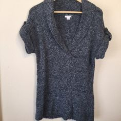Xhilaration Dark Gray Knit Sweater Dark Gray Knit Sweater (Like Wool)...Cuffed Sleeve with Button Embellishment...Plung Neckline with Collar Flap...Gently Used...54% Acrylic, 18% Cotton, 17% Polyester, 10% Nylon, 1% Spandex Xhilaration Sweaters V-Necks