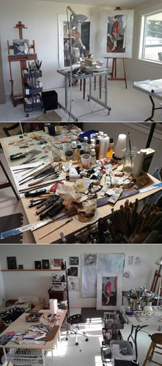 In a perfect world. Art Studio Design, Art Studio At Home, Studio Room, Home Art, Studio Spaces, Atelier Creation, Atelier D Art, Art Studio Storage, Arquitetura