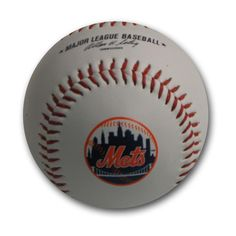Blank Leather MLB Team Logo Baseballs - New York Mets