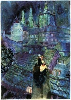 Jiří Trnka ~ Tales of Hans Christian Andersen: The Shepherdess and the Chimneysweep - Fairy Room Illustrators, Fine Art, Illustration, Art Style, Art, Winter Fairy, Animated Drawings, Fairy Tales, Scenery