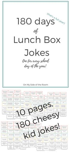 Lunchbox Jokes printables. 180 fun lunch box jokes for kids. Pin now and save for later!