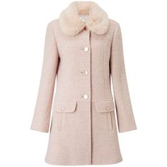 Miss Selfridge Blush Faux Fur Collar Coat (£120) ❤ liked on Polyvore featuring outerwear, coats, jackets, powder blush, miss selfridge, miss selfridge coats, pink coat, single-breasted trench coats and faux fur collar coats