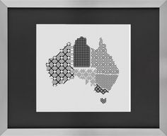 Australia map blackwork cross stitch embroidery pattern chart australian states Hey, I found this really awesome Etsy listing at https://www.etsy.com/listing/197814579/australia-map-states-blackwork-cross