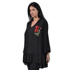 Μπλούζα με λουλούδι και κορδονάκια (5898) Plus Size Blouses, Kai, Long Sleeve, Sleeves, Tops, Women, Fashion, Moda, Long Dress Patterns