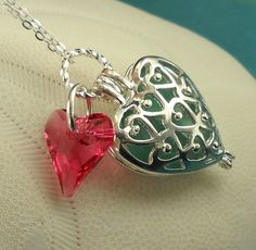:: Crafty :: Bead :: Turquoise Sea Glass Necklace Heart Locket