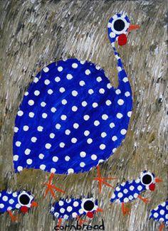 Blue Guinea Hen and Chicks Fiber Art Quilts, Bird Quilt, Chicken Art, Galo, Teaching Art, Fabric Painting, Bird Art, Paintings For Sale, Collage Art
