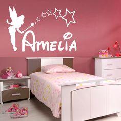 PERSONALISED FAIRY wall sticker girls name bedroom princess tinkerbell art vinyl