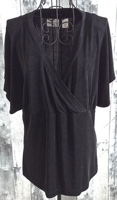 Chicos Travelers Black Stretch Jersey Top Blouse Cap Sleeve Size 2/Large 12 #Chicos #Top