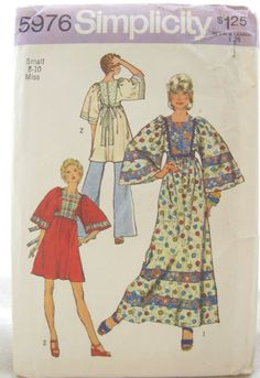 1970s Simplicity 5976 Misses Caftan Sewing Pattern. The long one I had was burgundy print and wore to eat on a special girls trip to Manteo, N.C. 1973