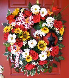 Ladybug Birdhouse Sunflower and Gerbera Daisy