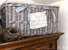 This evening's reader featured project is a Pretty French basket that was shared by Lin from A {tiny} Cottage in the Woods! Lin shared the instructions for creating this gorgeous basket with us, and here they are...