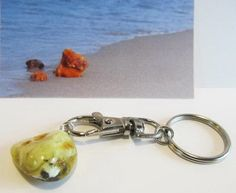 100% Natural genuine Baltic amber yellow charm keys 3.6 g landscape unisex steel #Unbranded