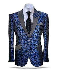 #MensUSA - #Mensusa Products Men's Victorian Blue/Black Front 2 Button Satin Peak Lapel Sportcoat Fashion Blazer - AdoreWe.com