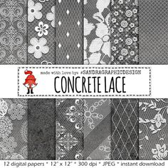 "Digital paper: ""CONCRETE & BLACK LACE"" with pretty white lace patterns on concrete texture (434)"