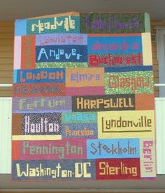 #quilt of all the places that Jen (Hedgehog) has lived. created with UnRuly Letters