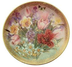 c1991 Lena Liu Tulip Ensemble Symphony of Shimmering Beauty plate CP1561 by Bradford Exchange, http://www.amazon.com/dp/B004LXBJF2/ref=cm_sw_r_pi_dp_2k0brb035T9E1