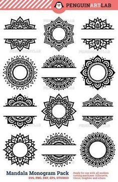 SVG Mandala Pack Svg Monogram svg and Split Mandala Cut Files for Cricut and Silhouette Manda. - SVG Mandala Pack Svg Monogram svg and Split Mandala Cut Files for Cricut and Silhouette Mandala – - Mandala Art Lesson, Mandala Drawing, Half Mandala Tattoo, Watercolor Mandala, Silhouette Cameo Projects, Henna Designs, Tattoo Designs, Svg Cuts, Icon Set