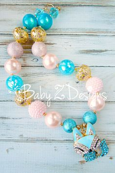 Turquoise Pale Pink and Gold Rhinestone Fox Chunky Necklace by babyzdesigns