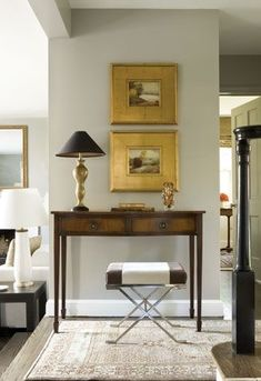 antique table, wonderfully framed art, and modern stool - perfection! Foyer Decorating, Interior Decorating, Interior Design, Design Entrée, House Design, Style At Home, Living Room Decor, Living Spaces, Style Anglais