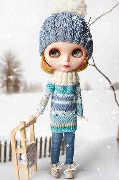 Blythe knitted sweater and hat set blue by Katjuss on Etsy