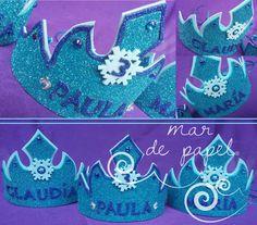 MAR DE PAPEL: El tercer cumple de Paula: diademas de Frozen en g...