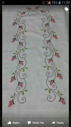 """""""Towel with Cross-Stitch"""", """"This post was discovered by Elm"""" Cross Stitch Rose, Cross Stitch Borders, Cross Stitch Flowers, Cross Stitch Designs, Cross Stitching, Cross Stitch Patterns, Beaded Embroidery, Cross Stitch Embroidery, Embroidery Patterns"""