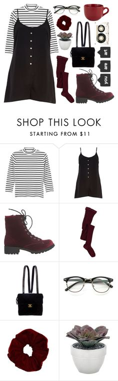 """""""Untitled #94"""" by chickensoup456 ❤ liked on Polyvore featuring Monki, River Island, Wet Seal, A.P.C., Chanel, Torre & Tagus, Pier 1 Imports and CASSETTE"""