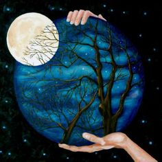 Buy Night Of The Big Moon, a Oil on by Carmen Hurt from . It portrays: Nature, relevant to: blue, tree, hands, moon, night Some nights the moon seems so big and close that you can almost reach out and touch it. This surreal oil painting is a depiction of the of one of those nights.
