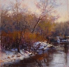 """A Winter Day's End by Barbara Jaenicke Pastel ~ 12 x 12"""""""