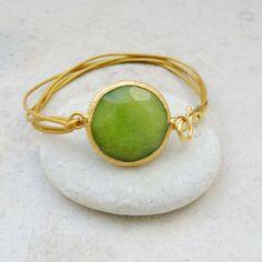 april fashion  olive apple green jade  large stone by YUNILIsmiles, $44.00