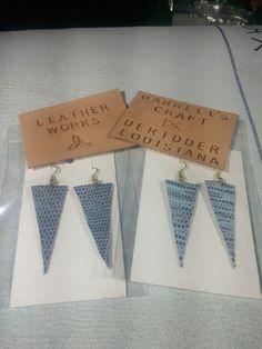 Earring, genuine leather, small triangle, blue lizard print