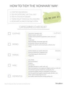 Tidying Checklist