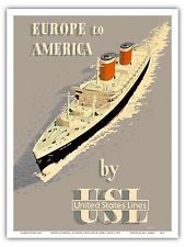 Europe America Cruise Ship Vintage Ocean Liner Travel Art Poster Print