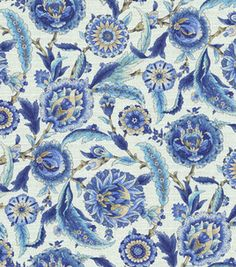 Home Decor Print Fabric-Waverly Grand Bazaar/Aegean, , hi-res Home Decor Fabric, Fabric Crafts, Waverly Fabric, Kitchen Window Treatments, Grand Bazaar, Online Craft Store, Joann Fabrics, Xmas Ornaments, Tile Art