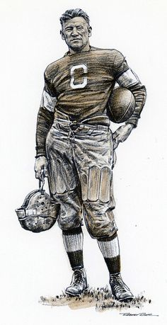 Jim Thorpe in his Carlisle (c. school uniform, lithograph and sepia wash by Robert Riger Football 101, Football Images, Football Hall Of Fame, Oregon Ducks Football, College Football Uniforms, Football Helmets, Notre Dame Football, Alabama Football, Black Panther Art