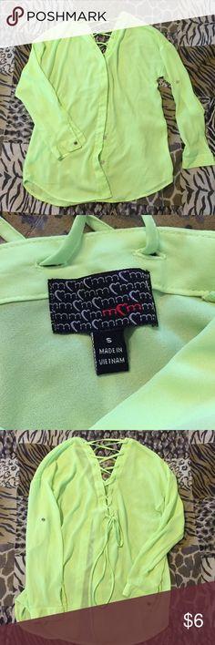 Green laced shirt Small, but runs bigger Tops Blouses