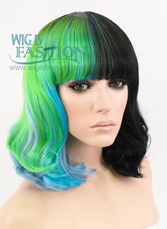 "14"" Medium Curly Green Mixed Blue With Black Lace Front Synthetic Hair Wig LF858 - Wig Is Fashion"