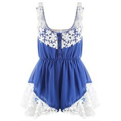 Blue Stylish Lace Trim Chiffon Romper (47 RON) ❤ liked on Polyvore featuring jumpsuits, rompers, blue, summer romper, blue romper, blue rompers, chiffon romper and summer rompers