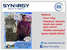 Testimoni Smart Detox dari Pak Makmur Berhasil turun 13kg, kadar kolesterol, gula darah serta tekanan darah normal berkat kehebatan Smart Detox dari Synergy Worldwide