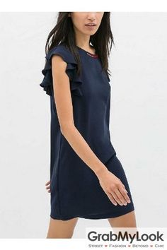 GrabMyLook Navy Blue Ruffle Sleeveless Round Neck Slim Dress