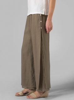 Linen Double Layers Pants With Sea Shell Button