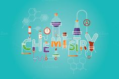 Modern vector illustration of Chemistry inscription with different lab and science equipment. 1 1 JPEG Have a nice day, Chemistry Drawing, Chemistry Art, Science Doodles, Science Equipment, Science Words, Magazine Layout Design, Hand Illustration, Illustrations, Aesthetic Stickers