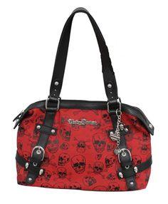 c9eb7ee362 Details about Harley-Davidson® Womens Cross Bones Classique Bag Red with  Black Skulls CB1330J