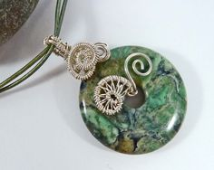 Gemstone Wire Wrapped Donut Pendant Green by BeauBellaJewellery