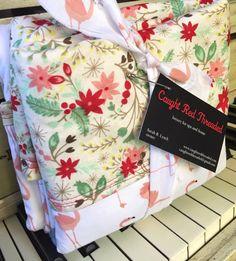 Quilted Flamingo and Marimekko Throw Blanket/ Baby Blanket