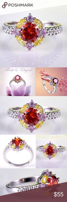 18K Round Garnet, Pink Topaz, Morganite Gemstone Round Cut Garnet & Pink Topaz & Morganite Gemstones in a beautiful 18K White Gold Plated Setting.                                                                       Metal: 18K White Gold Plated                                                                       Main Stone: AAA Morganite Pink Topaz Garnet     Main Color: Champagne Pink Red                      Main Stone Size: 5*5 mm Approx Jewelry Rings