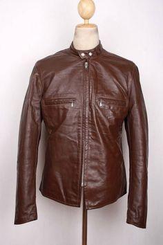 cc83262a47a Vtg 60s BROOKS Gold Label Steerhide Leather Motorcycle Jacket CAFE RACER  Medium Vestes En Cuir À