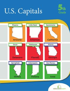 Use these mini states and capitals flash cards to help your child learn the 50 U. Social Studies Activities, Teaching Social Studies, Physical Activities, Book Activities, Elderly Activities, Dementia Activities, Educational Activities, Math Workbook, Homeschool Worksheets