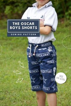 The Oscar Boys Shorts sewing pattern (Ages 1-16). These shorts as a total breeze! They have a faux zipper flap and an elasticated waist which makes this a quick afternoon project. There are a few new tricks to sewing this one, making it look totally professional. The fit is perfect too. Once you have made one you will be running them up all the time. Best of all it only takes just over half a yard of fabric to make one of these.