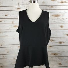 ELLE XL Peplum Top BLACK Sleeveless Exposed Back Zipper Stretch Knit Career NWT #ELLE #Peplum #Career